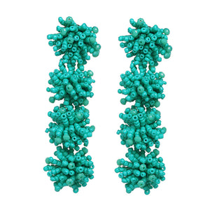 Malia Turquoise Beaded Layered Pom-Pom Drop Earrings - Ferosh