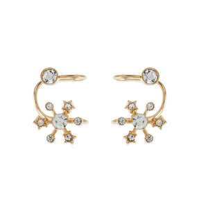 Valerian Golden Rhinestone Flower Ear Clips - Ferosh