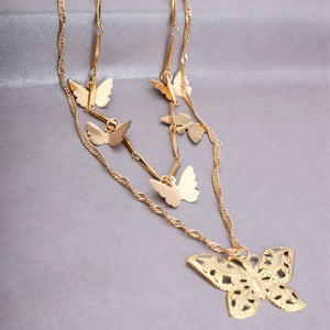 Valerie Layered Golden Butterfly Statement Neckpiece - Ferosh