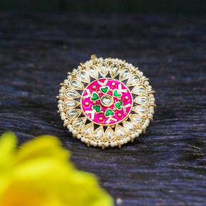 Vedhika Pink Heart Golden Stonework Ethnic Ring