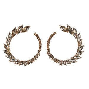 Ferosh Winged BronzeOpen Circle Crystal Stud Earrings
