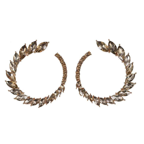Winged BronzeOpen Circle Crystal Stud Earrings - Ferosh