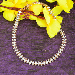 Wylie Marquise Rhinestone Golden Necklace - Ferosh