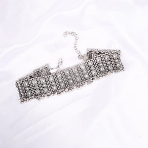 Ferosh Silver Stone Statement Choker Necklace for women - Neckpieces Online