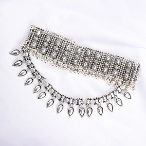 Ferosh Silver Layered Stone Statement Choker Necklace for women - Neckpieces Online