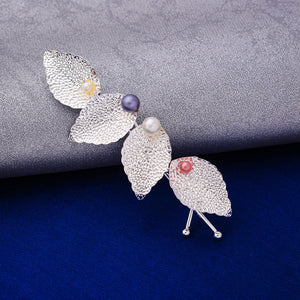 Willow Silver Pearl Multi-Leaf Hair Pin - Ferosh