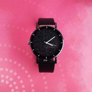 Xenia Black Glittery Leather Strap Watch - Ferosh