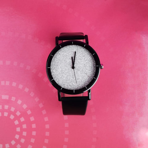Xenia Silver Glittery Black Leather Strap Watch - Ferosh