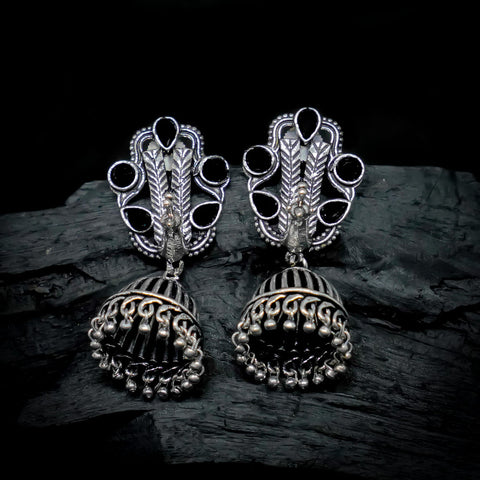 Yutika Silver Oxidized Black Stone Jhumki Earrings - Ferosh