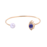 Yulia Winked Evil Eye Pearl Golden Bangle Bracelet - Ferosh