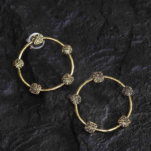 Zarka Open Circle Artistic Oxidized Golden Earrings - Ferosh
