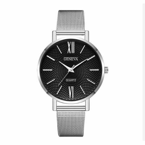 Zest Black Silver Metal Strap Formal Watch - Ferosh