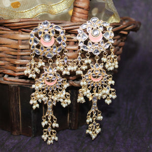 Zinia StoneWork Coral Peach Layered Pearl Ethnic Earrings - Ferosh
