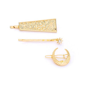 Zofia Crescent Star Golden 3-Piece Hair Pin Set - Ferosh