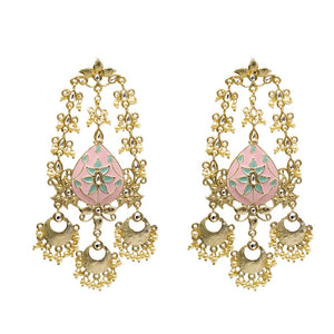 Ferosh Ethnic Pearls Enamel Gold Plated Earrings For Women  Drop Earrings Online