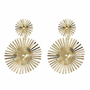 Zinnia Golden Circular Charm Drop Earrings - Ferosh