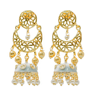 Ferosh Grey Enamel Pearl Gold Plated Jhumka For Women - Ethnic Earrings Online