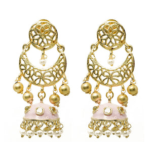 Ferosh Pink Enamel Pearl Gold Plated Jhumka For Women - Ethnic Earrings Online
