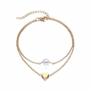 Ferosh Zain Pearl Love Golden Layered Anklet