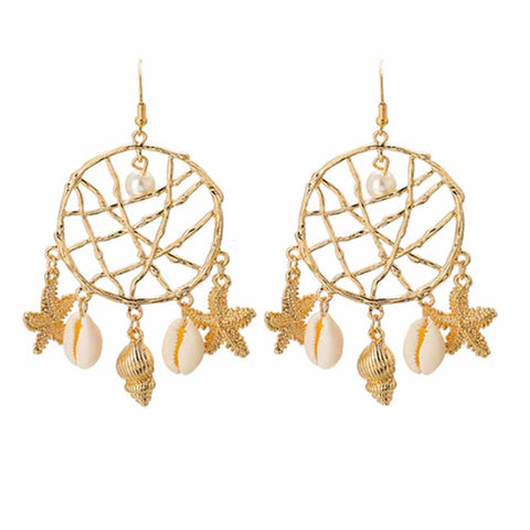 Sea creatures Golden Drop Earrings - Ferosh