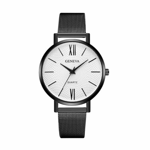 Zest White Black Metal Strap Formal Watch - Ferosh