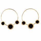 Wondrous Golden Black Charm Hoop Earrings - Ferosh