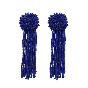 Royally Beaded Blue Drop Tassel Earrings - Ferosh