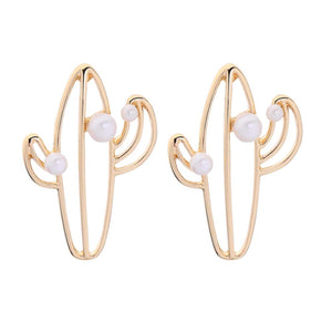 Flavia Golden Pearl Cacti Stud Earrings - Ferosh
