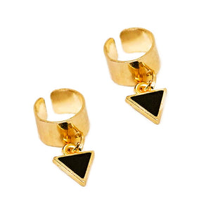 Golden Triangular Black Crystal Ear Clip FOR women - earrings Online