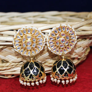 Eshana Artistic Black Jhumka Earrings - Ferosh
