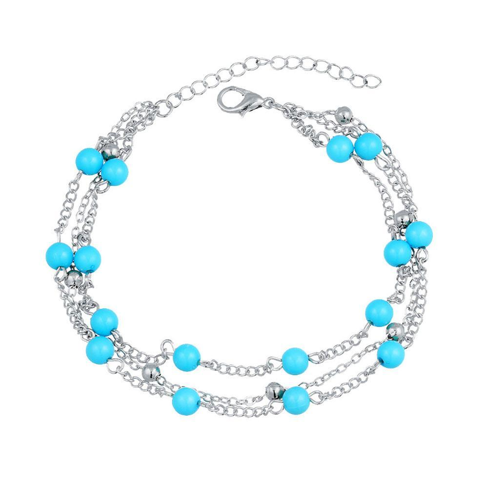 Ferosh Anklets Marvella Silver Turquoise-Beaded Layered Anklet