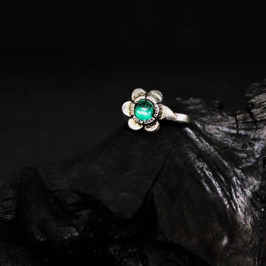 Green Flower Oxidised Nose Pin - Ferosh