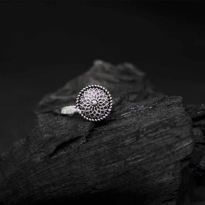 Karvi Flower Engraving Silver Oxidized Nose Pin - Ferosh