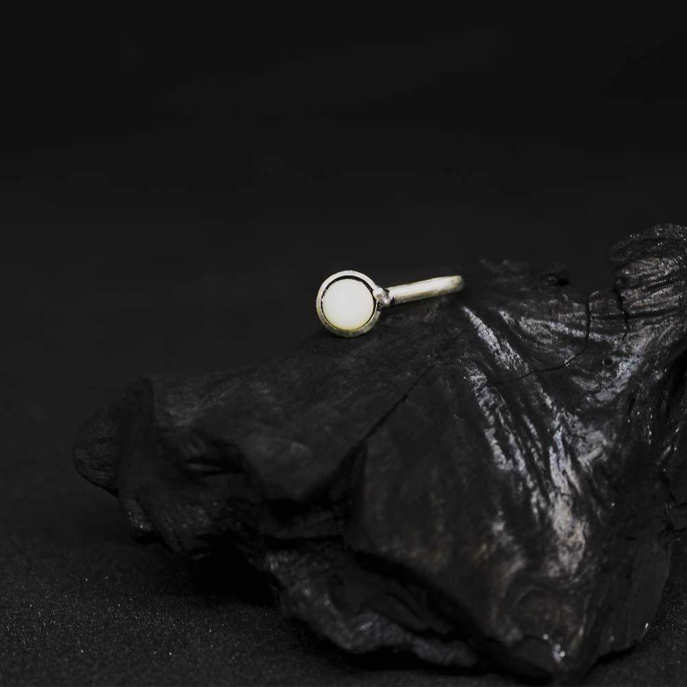 Ferosh Body Jewellery Simplistic Silver Oxidised Nose Pin