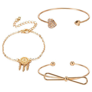 Dream Catcher Bow Love Cuff Set - Set of 3 Cuff Bracelet Set - Ferosh