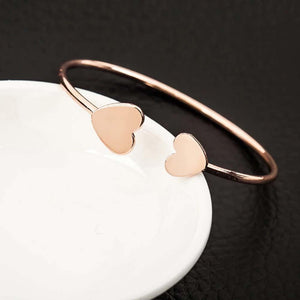 Heart Shaped Rose Gold Cuff Bracelet - Ferosh