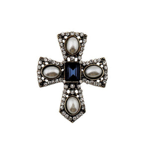 Ferosh Brooches & Lapel pins Cross Pearl Brooch