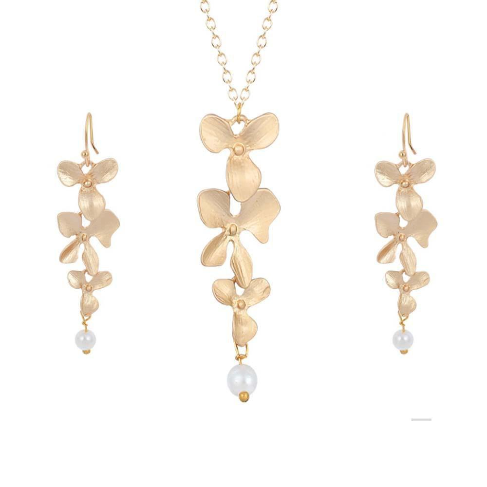 Ferosh Combos Gold Flower Layered Jewellery Set