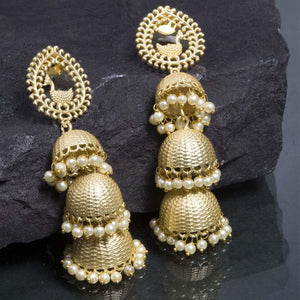 Ferosh Earrings Artistic Gold Multi Jhumka Earrings