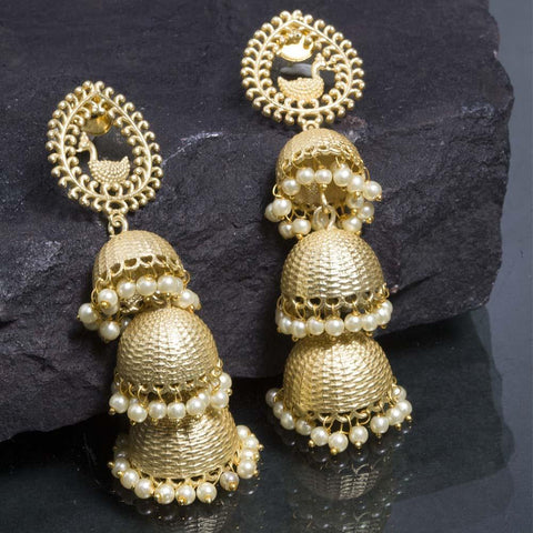 Artistic Gold Multi Jhumka Earrings - Ferosh