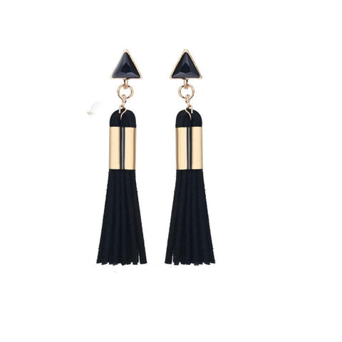 Black Leather Tassel Earrings - Ferosh