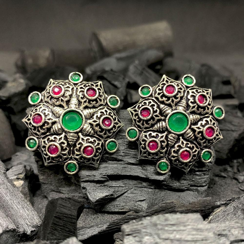 ferosh Earrings Designer Emerald-Ruby Stud Earrings