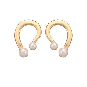 Designer Golden Pearl Drop Earrings - Ferosh