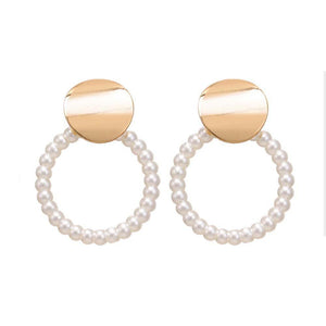 Diona Open Circle Pearl Earrings - Ferosh