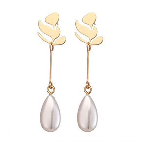 Eeva Artistic Golden Pearl Drop Earrings - Ferosh