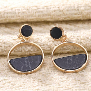 Eilis Marble Golden-Black Drop Earrings - Ferosh