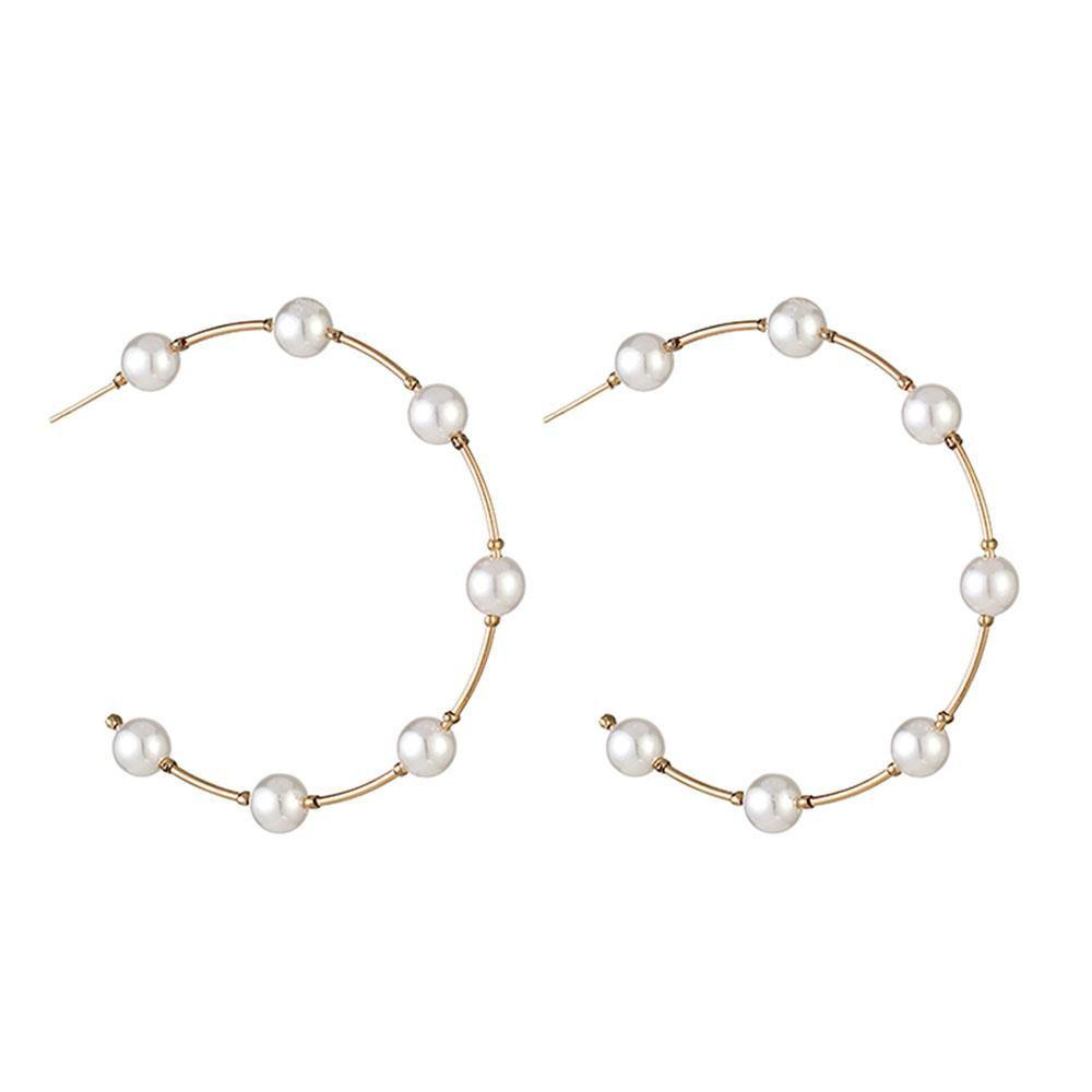 Ferosh Earrings Faustina Pearl Studded Half Hoop Earrings