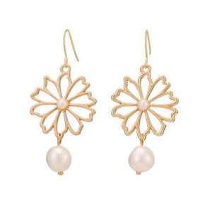 Floren Pearl Charm Drop Earrings - Ferosh