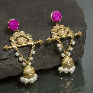 Gold Fiza Indo-Western Earrings - Ferosh