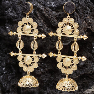 Gold Galore Indo-Western Drop Earrings - Ferosh